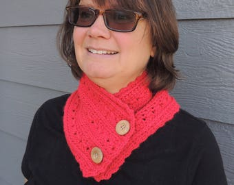 Crochet Cowl, Crochet Scarf, Women's Cowl, Women's Scarf, Button Up Cowl, Gift for Her, Wooden Buttons, Accessory, Winter Accessory,