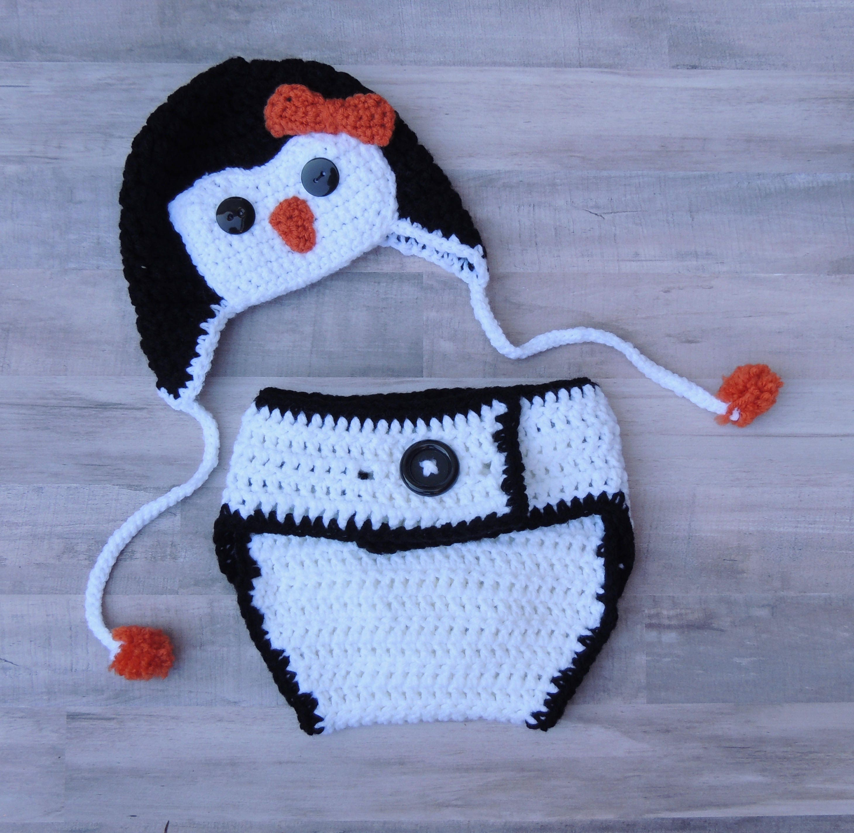 Crochet Penguin Hat And Diaper Cover Photo Prop Crochet Etsy