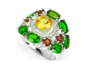 Multi Gemstone Ring. Genuine Natural Multi color Citrine Chrome Diopside Garnet & white CZ 925 Sterling Silver womens Ring 8 see VIDEO