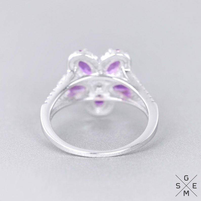 Natural Amethyst Ring Sterling Silver Purple Gemstone Ring 9.25