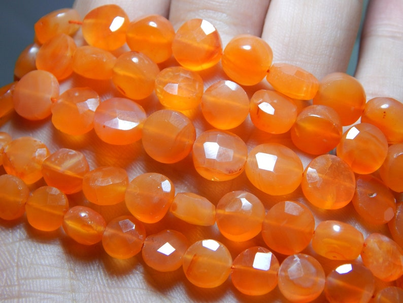 Carnelian Faceted Coin Beads 100 Percent Natural Gemstone Size 8.3x9.4 mm Approx