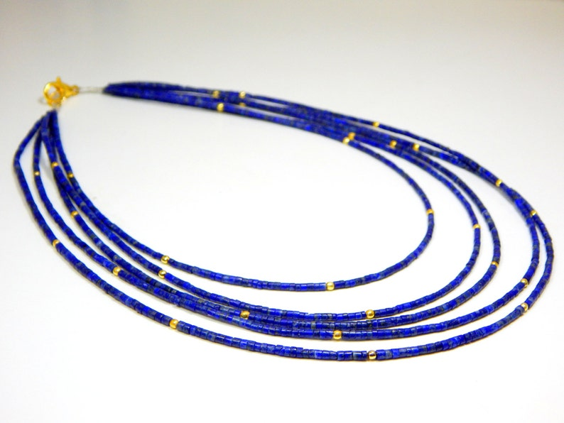 0491 Lapis Lazuli Tube Beads Necklace 100 Percent Natural Gemstone 1.Necklace 5.String Size 2.mm Approx