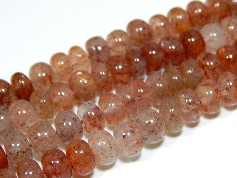 0484 Strawberry Quartz Rondelle Beads 100 Percent Natural Gemstone Size 8x7.3 mm Approx