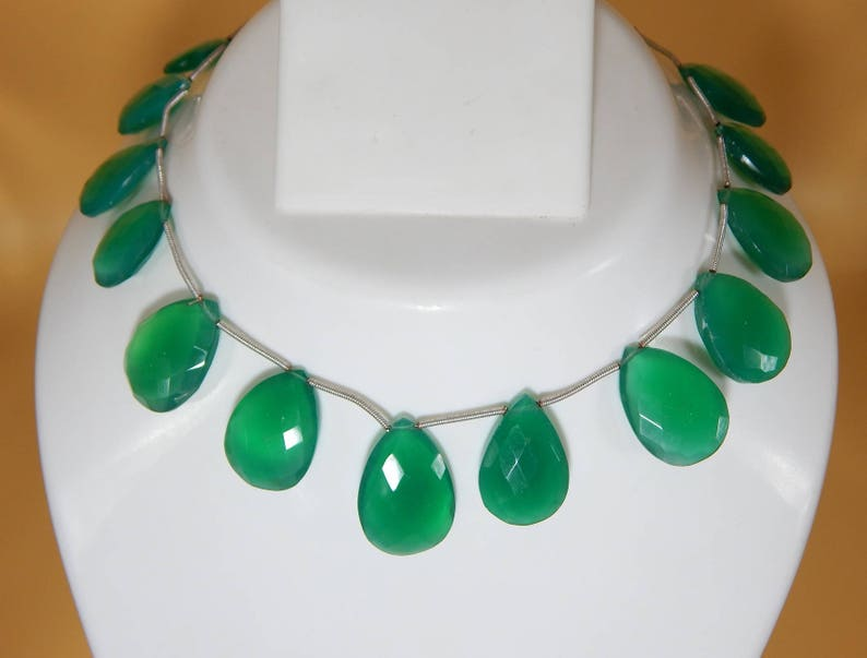 Green Onyx Faceted Pear Beads Natural Gemstone Size 26 To 17.5 mm Approx