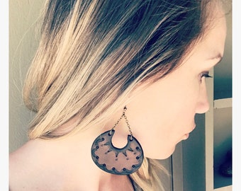 Mahogany Leather Earrings