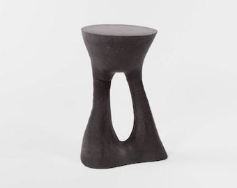 Beau Tall Black Cement End Table, Concrete Furniture, Contemporary, Furniture,  Occasional Table, Side Table, Sculptural, Garden, Plant Stand