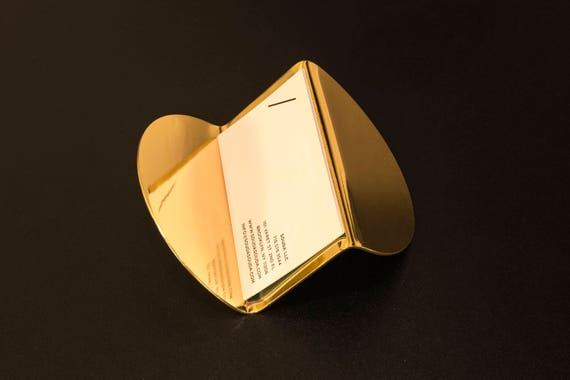 Modern Brass Business Card Holder Gold Desk Accessory Gift Etsy