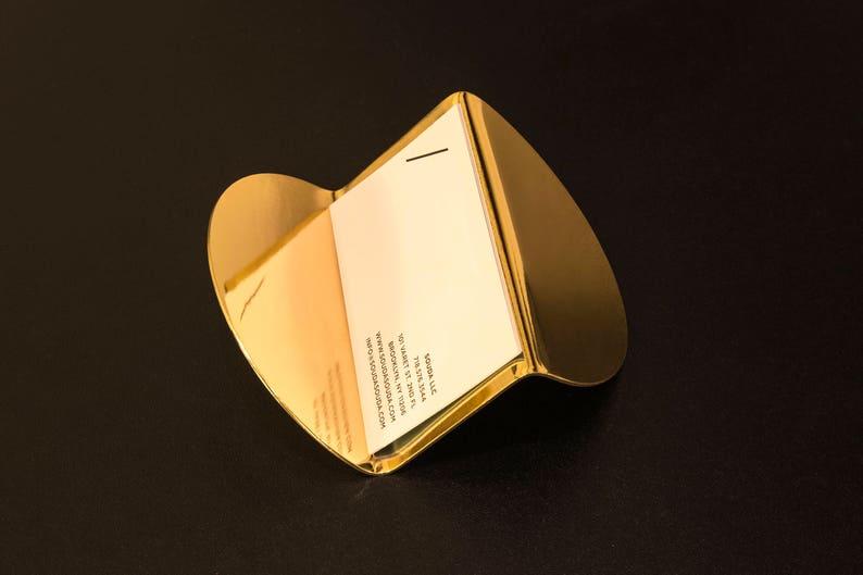 2df0c3d4a256 Modern Brass Business Card Holder Gold Desk Accessory Gift