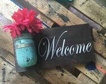 mason jar welcome sign, welcome wood sign, mason jar sign