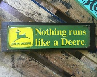 John Deer tin/wood decor sign