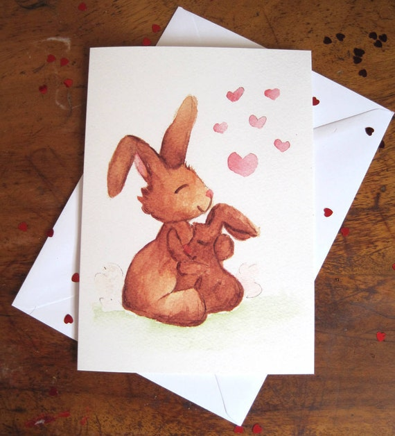 A5 Bunnies /'I Love You/' Greetings Card /& Envelope
