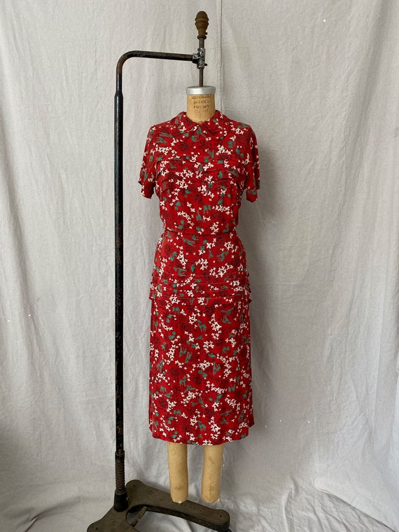1940s Deer & Mushroom Novelty Print Rayon Dress wi