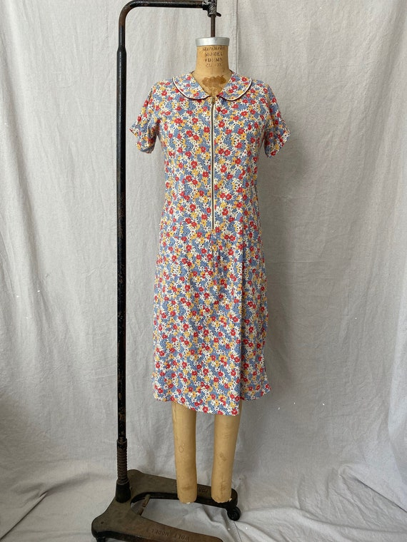 1930s Cotton Feedsack Chore/ House Dress with Pete