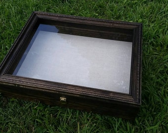 "PERSONALIZABLE LARGE SIZE Wooden Shadow Box Display Case With Hinged Lid & Choice of Glass or Wood Bottom (17""x21""x4"")"