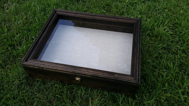 PERSONALIZABLE LARGE SIZE Wooden Shadow Box Display Case With image 0