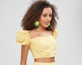 1918f90aff5 Adorable Trendy Yellow Checkered Gingham Skirt/Crop Top Set