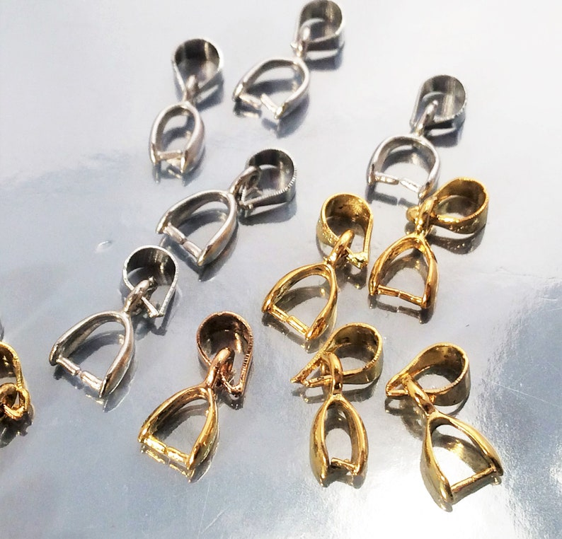 12 pcs Gold Tone Brass Metal Pinch Clips Bails Pendant Charm Jewelry Connectors