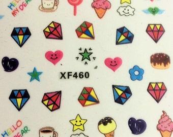 Two sheets Cute Kawaii Nail sticker, Nail Art Stickers Decal Beauty Super Cute Japanese Cartoon Design