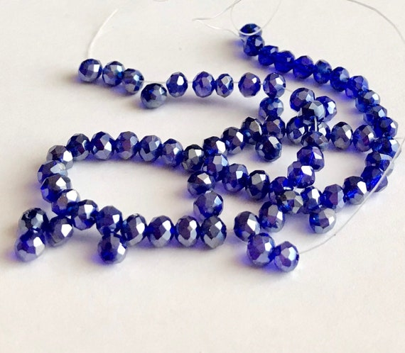 50 Piece Violet AB Crystal Glass Faceted Beads Jewelry Making Rondelle 4-8mm
