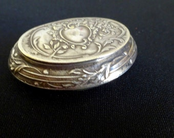 Vintage Silver Compact, French Art Nouveau Compact, Burr & Co. Reims Champagne,  Antique Beauty Supplies Make Up, Advertising Champagne