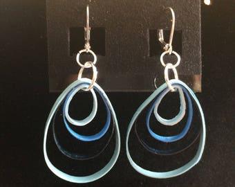 Handmade paper earrings blues