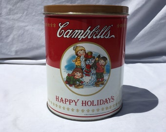 campbells brand vintage happy holidays 1993 collectable empty metal popcorn tin with snowman and 3 children