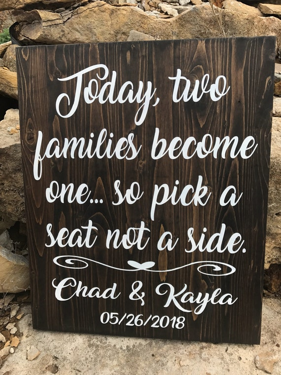 Rustic Wedding Signs.Wedding Signs Seating Plan Sign Rustic Wedding Decor Rustic Wedding Signs Today Two Families Become One Wood Sign