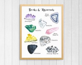 Printable Rock Art - Geology Art Print - Rocks & Minerals Wall Art - Geology Print Poster - Instant Download