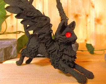Cat rings holder Black Cat Cat figurine Cat statuette Cat for rings Fantasy Cat Fantasy Animal Winged Cat Handmade Cat red eyes Cat Wings