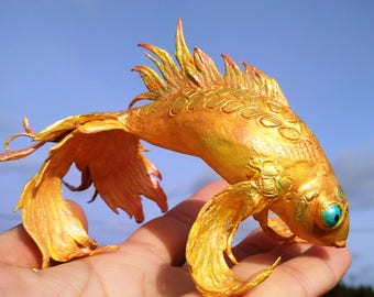 Golden fish Tale creature Fantasy animal Wish-maker Polymer clay fish Velvet clay fish Cake topper Home decor Unique golden decor fish