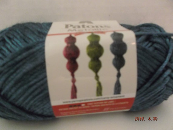 Patons Metallic Yarn Teal 60 Grams 168 Yards 4 Medium Etsy