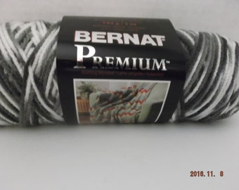 "Bernat Premium Yarn ""Colour Grey Variegated"" #4 Medium ~ 142 Grams/5 Ounces ~ 258 Yards"