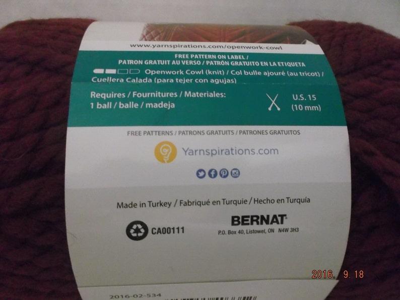 Bernat Wool-Up Yarn  Merlot #6 Super Bulky 170 grams6 ounces ~ 121 Yards110 meters ~