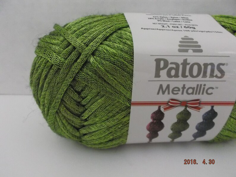Patons Metallic Yarn Green 60 Grams 168 Yards 4   Etsy