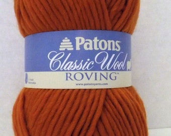Patons Classic Wool Roving ~ 100% Pure New Wool ~ Pumpkin ~ #5 Bulky ~ 3.5 oz/100 grams