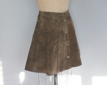 e1d6a733af Vintage Brown Suede Skirt