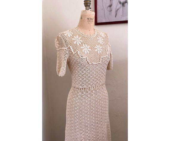 Vintage 1930s Hand-Crochet Dress