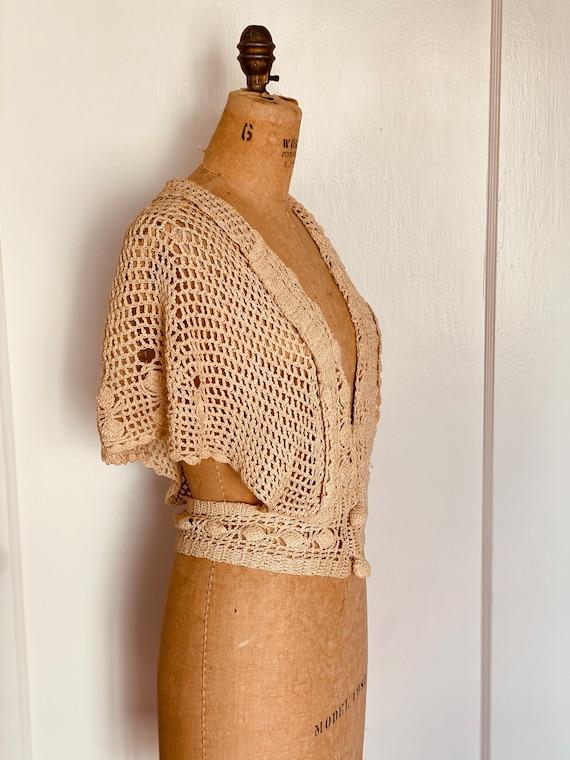Vintage 1930s Crochet Bolero Capelet Cardigan - image 4