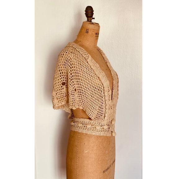 Vintage 1930s Crochet Bolero Capelet Cardigan