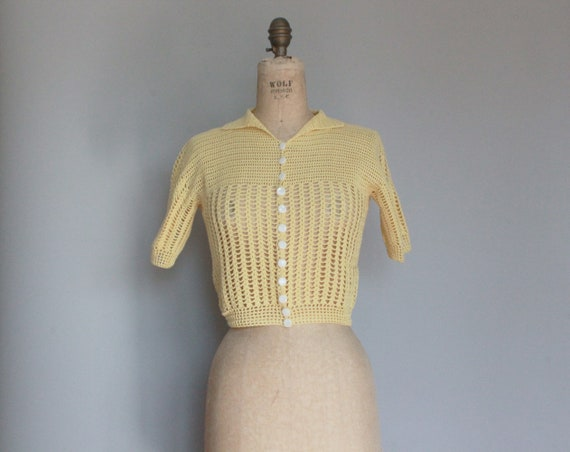 Vintage 1930s Crochet Button Sweater