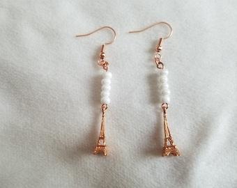 White Eiffel Tower Earrings
