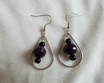 Purple & Black Teardrop Earrings
