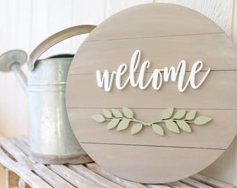 Round Welcome Sign Etsy