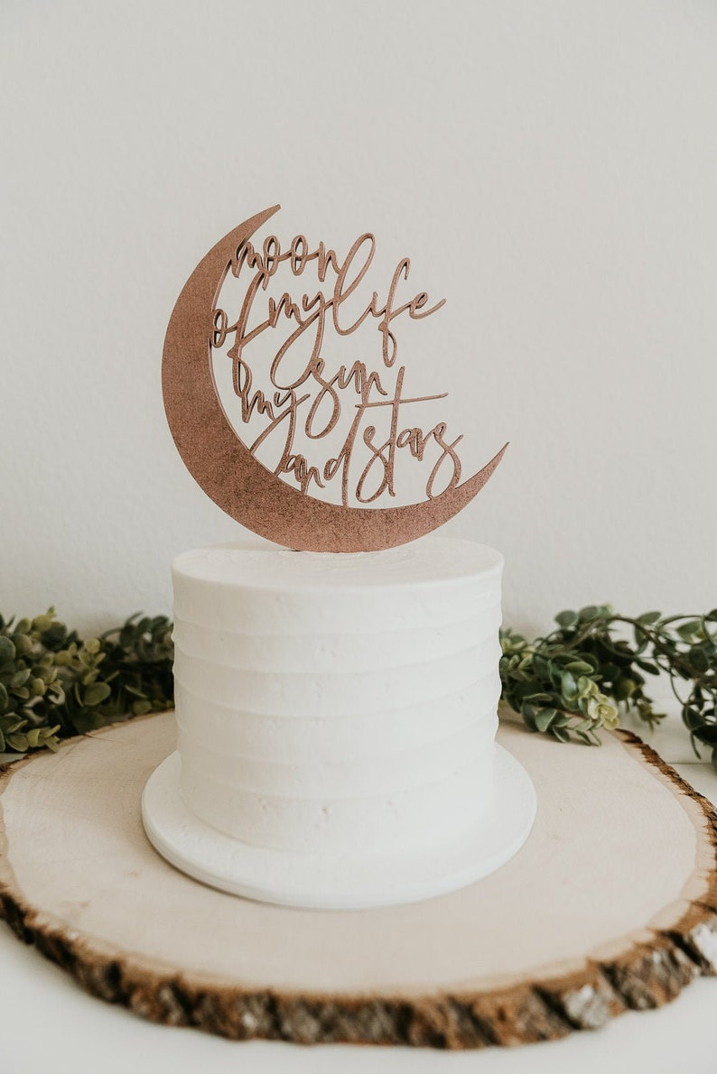 moon of my life my sun and stars cake topper wedding cake image 0