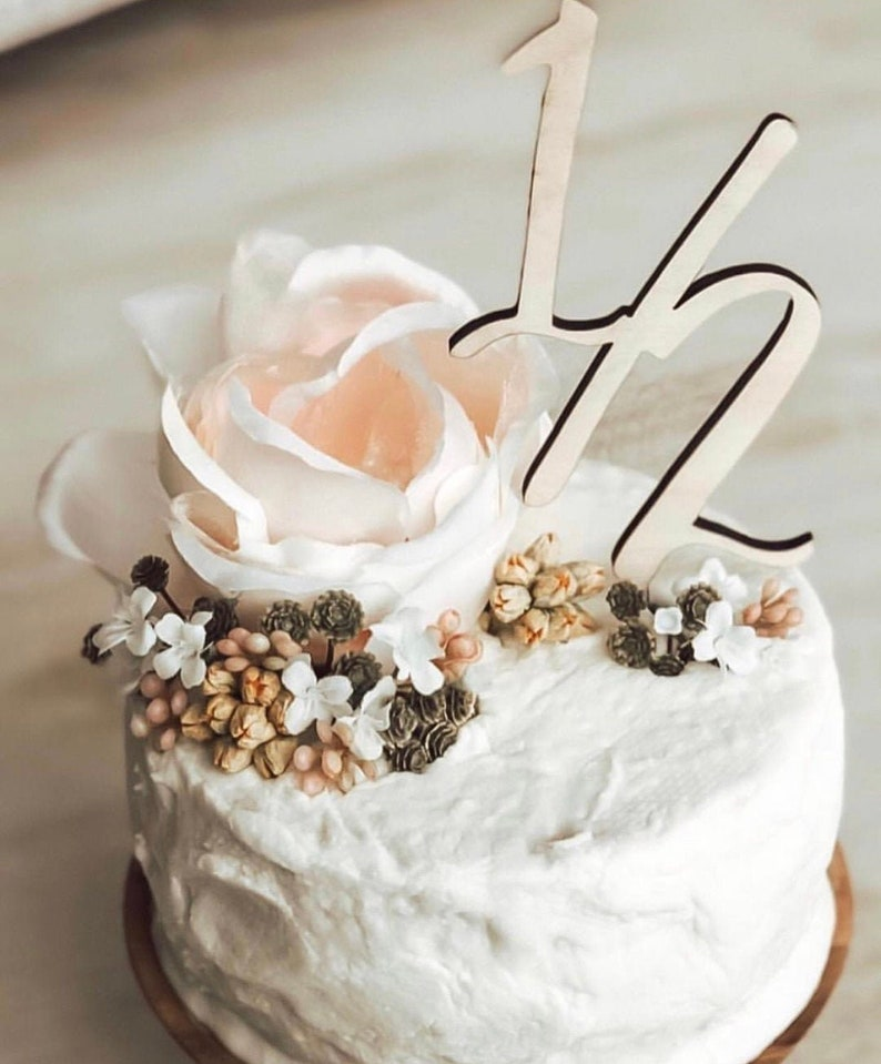 Laser cut birthday cake topper half birthday topper number image 0