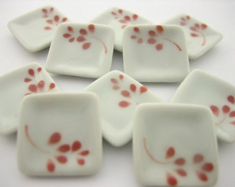20x20mm Orchid Flower 10 Square Plate Dish Dollhouse Miniature Ceramic 12828