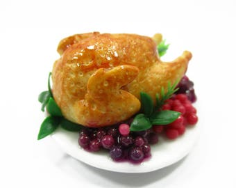 1:6 Dollhouse Miniatures Roasted Chicken Legs Dinner Toy Food Thanksgiving Deco
