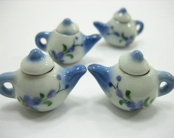Rooster Hand Paint Coffee Cup//Scallope Plate//Teapot Dollhouse Miniatures