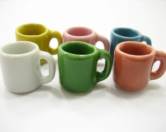 6 Mix Colorful Ceramic Mugs Coffee Dollhouse Miniatures