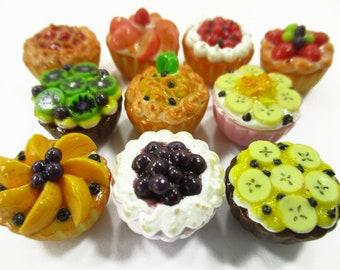 19 5 Strawberry Cream Souffles Dollhouse Miniatures Food Sweet Bakery Dessert
